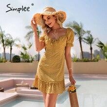 Mini Dress Simplee Ruffled Yellow Cotton Summer Elegant Puff-Sleeve Lace-Up High-Waist