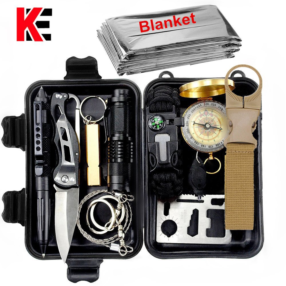 13 In 1 Outdoor Survival Kit Set Multi Tools First Aid Gear Camping Travel Hiking EDC SOS Emergency Tactical Tool For Wilderness
