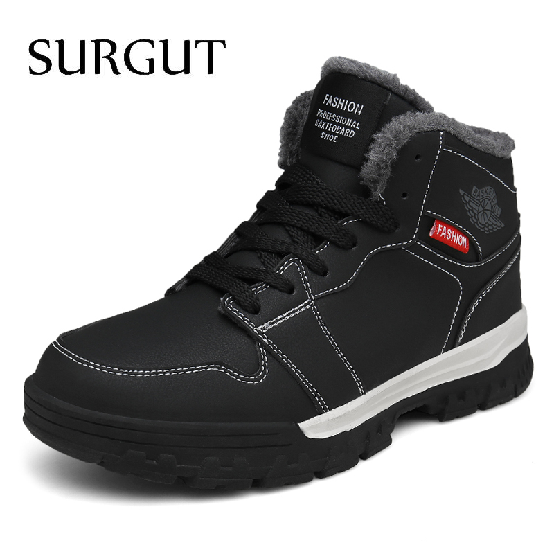 SURGUT 2019 Winter Men Boots New Waterproof Work Shoes With Fur Plush Warm Snow Boots Male Outdoor High Top Casual Boots Sneaker