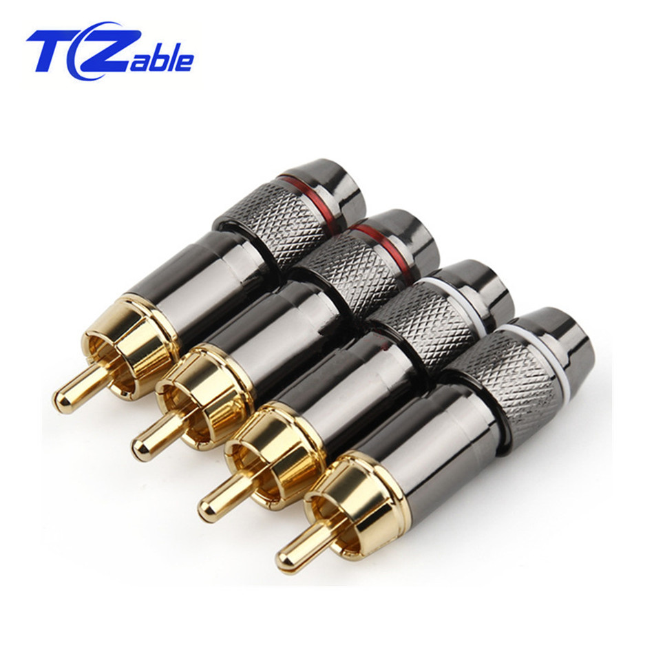 RCA Connector Male Audio Plug Gold Plated Copper RCA Plug Screw Soldering Locking Wire Metal Alloy 47mm X 6.2mm