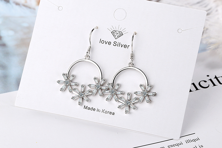 ANENJERY Literary Ice Zircon Flower Wreath 925 Sterling Silver Earrings For Women Two Colors S-E925 5