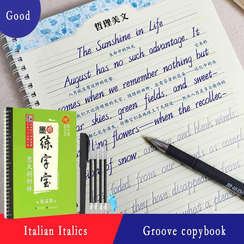 新到着 1 個イタリアスタイル再利用可能な英語溝書道コピーブック消去可能なペン学ぶ大人書いアート本