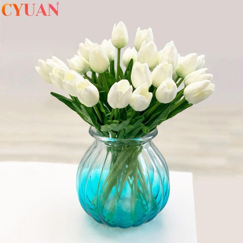 10 Pcs Kunstmatige Bloemen Tuin Tulpen Real Touch Bloemen Tulp Boeket Mariage Voor Home Party Bruiloft Decoraties Nep Bloem