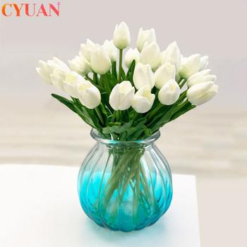 10 sztuk sztuczne kwiaty ogrodowe tulipany kwiaty jak prawdziwe w dotyku tulpa bukiet Mariage dla domu dekoracja na przyjęcie ślubne sztuczny kwiat tanie i dobre opinie cyuan H1657 Bukiet kwiatów Ślub