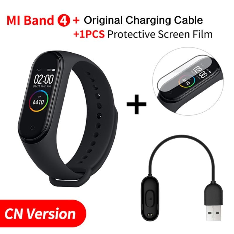 Xiaomi mi Band 4 Smart mi band 3 Цвета экран Браслет фитнес-трекер для измерения сердечного ритма Bluetooth 5,0 водонепроницаемый банда4 - Цвет: CNAdd Original Cable