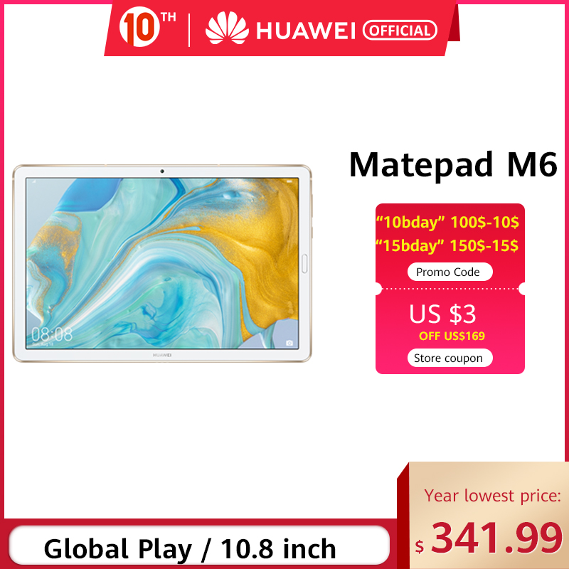 Original Huawei Mediapad M6 10.8 Polegadas 4 GB 64 GB WiFi ITE Kirin 980 Octa Core Android 9.0 Tablet Tipo-C Google Play GPU Turbo 3.0