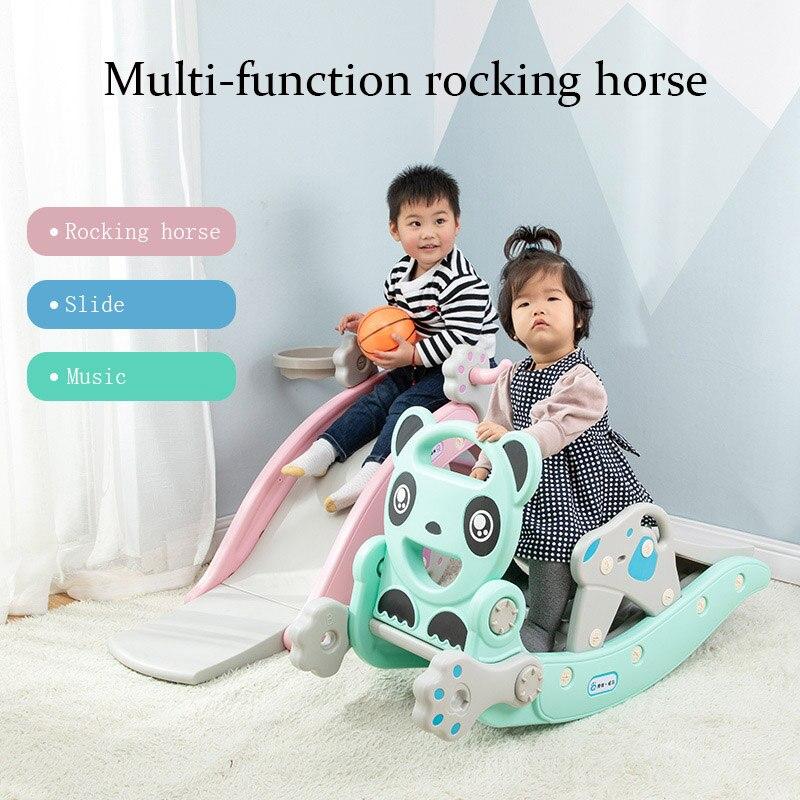 2 в 1 Детские блестящие горки для детей Качалка лошадь Детские игрушки многофункциональные горки езда игрушечная лошадь для детей подарок н...