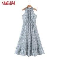 Tangada 2021 Summer Fashion Women Flowers Print Halter Dress Sleeveless Ruffles Female Casual Long Dress SL06 1