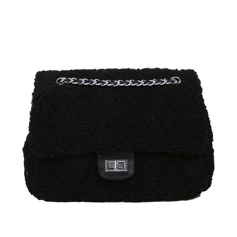 Winter Soft Lambswool Handbags For Women 2021 Chain Totes Women's Shoulder Crossbody Bags Hand Bag And Purses Lady Messenger Bag