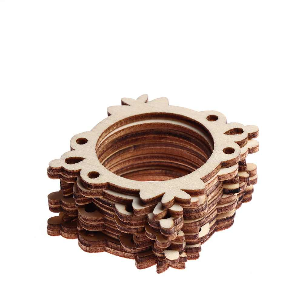 5 סגנונות 10 יח'\סט גמור מסגרת מגולף עץ קישוטי קישוט לרעיונות כרטיס קיר עץ DIY אמנות קישוט