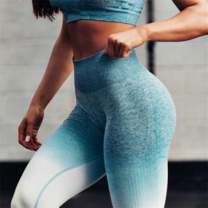 Image 2 - Nessaj Ombre Seamless Leggings For Women High Waist Peach Pink Athleisure Sweat Pants Scrunch Butt Push Up Fitness Leggings