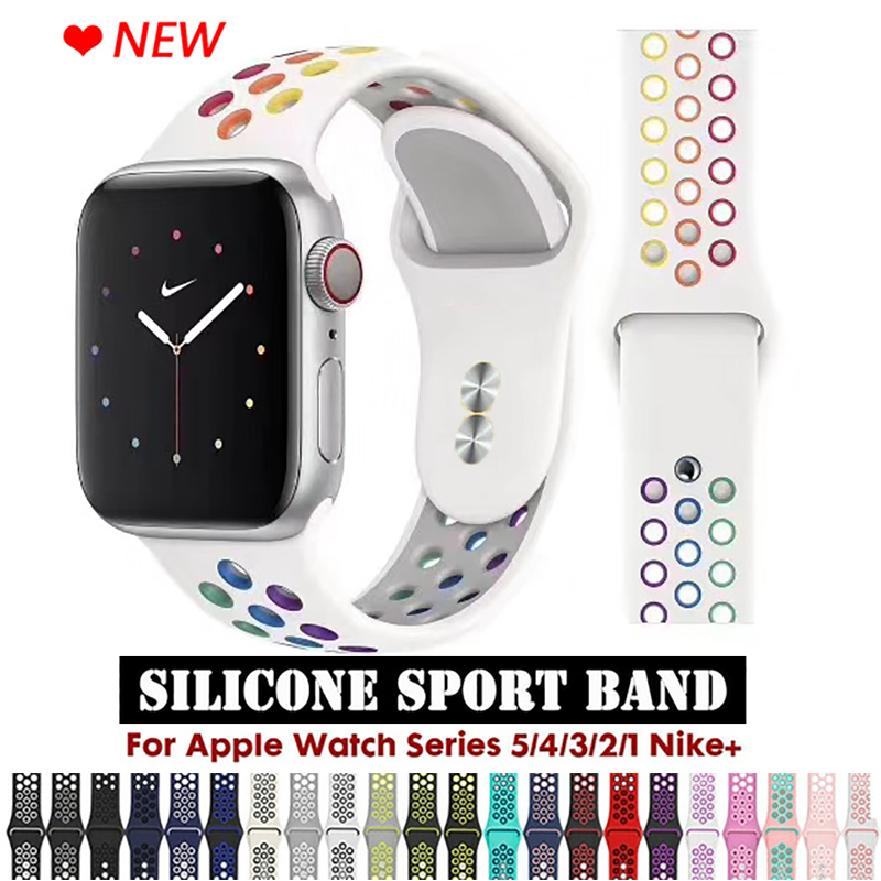 Strap For Apple Watch Band 5 4 3 2 1 Band 38mm 40mm Silicone Bracelet  42mm 44mm Strap Rubber Iwatch Series 4 3 2 Band Wristband