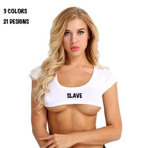 cut off t shirt top crop woman sexy queen of spades slave slut bdsm(China)