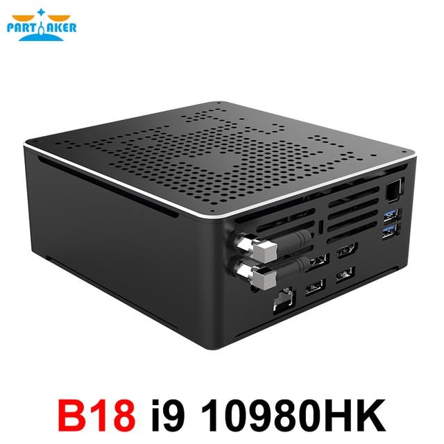 10Th Gen Mini PC Intel Core i9 10980HK 8 Core 16 Threads 5.3GHz Desktop Computer 2*M.2 NVMe SSD Win10 Pro 4K HTPC HDMI DP WiFi