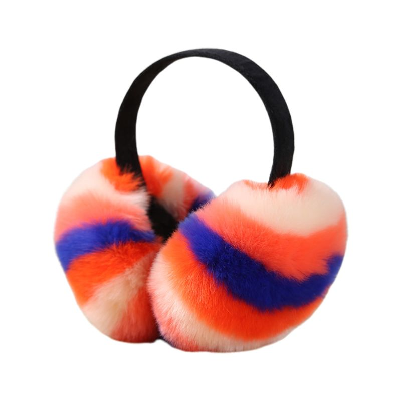 Women Winter Fluffy Plush Earmuffs Rainbow Colorful Stripes Collapsible Headband AXYD