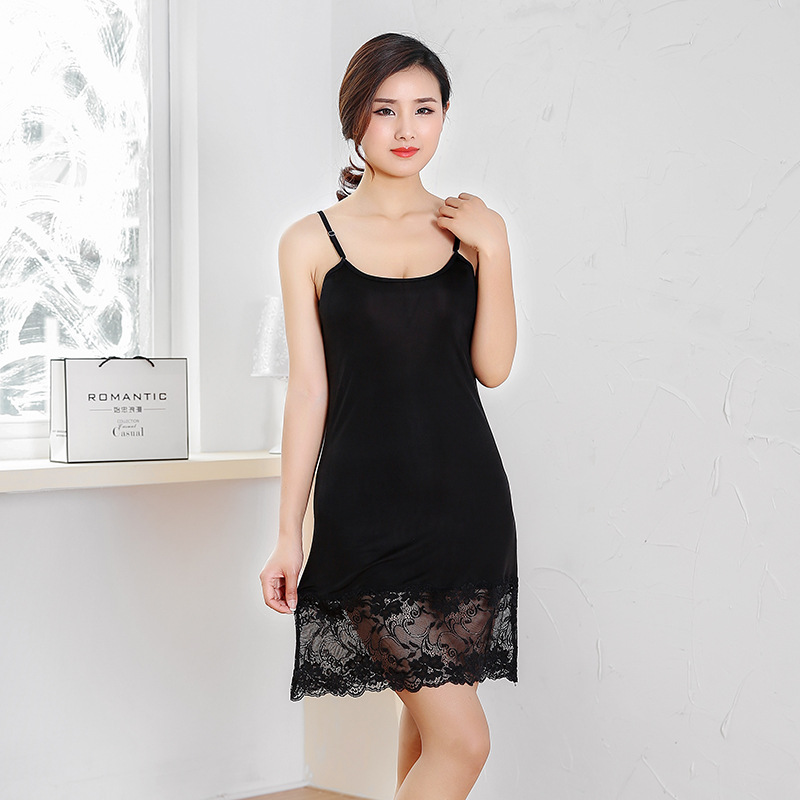 Y003 Summer Mulberry Silk Sexy Lace Mid-length Strapped Dress Nightgown Knitted Real Silk Base Skirt Slip Dress Women's