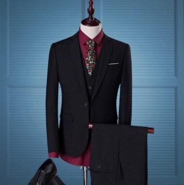 Suit Men's 2019 New Style Suit Three-piece Set Men's Wedding Dress Marriage Best Man Small Suit Men Slim Fit