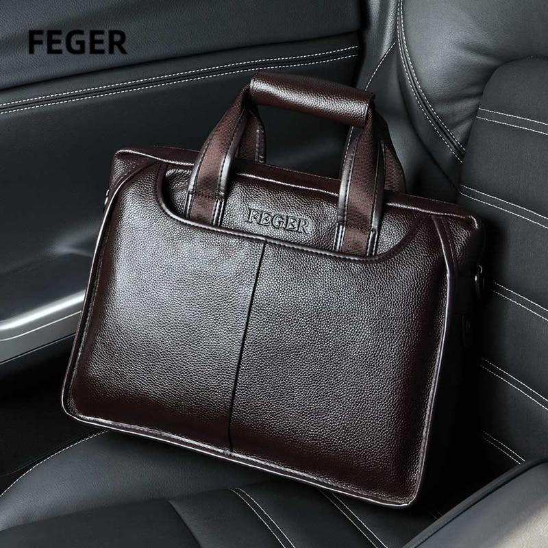 Men Bag Men's Leather Bag Laptop Briefcase Bag Brand Bags Shoulder Strap Bag For Documents With Shoulder Starp Brown And Black
