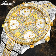 MISSFOX 51MM Oversized Men's Luxury Watch 5 Time Zones Full Paved White Diamond Watch Men Designed For Sophisticated Timepieces(China)