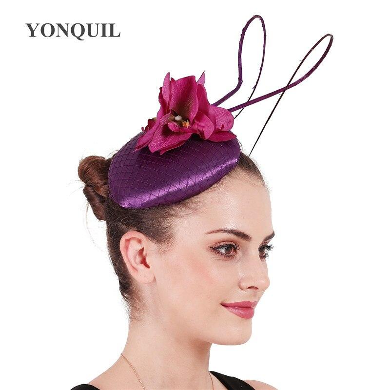 Nice satin wedding hat for bride elegant marry fascinator headwear women fashion party dinner headpiece with headband mesh cap