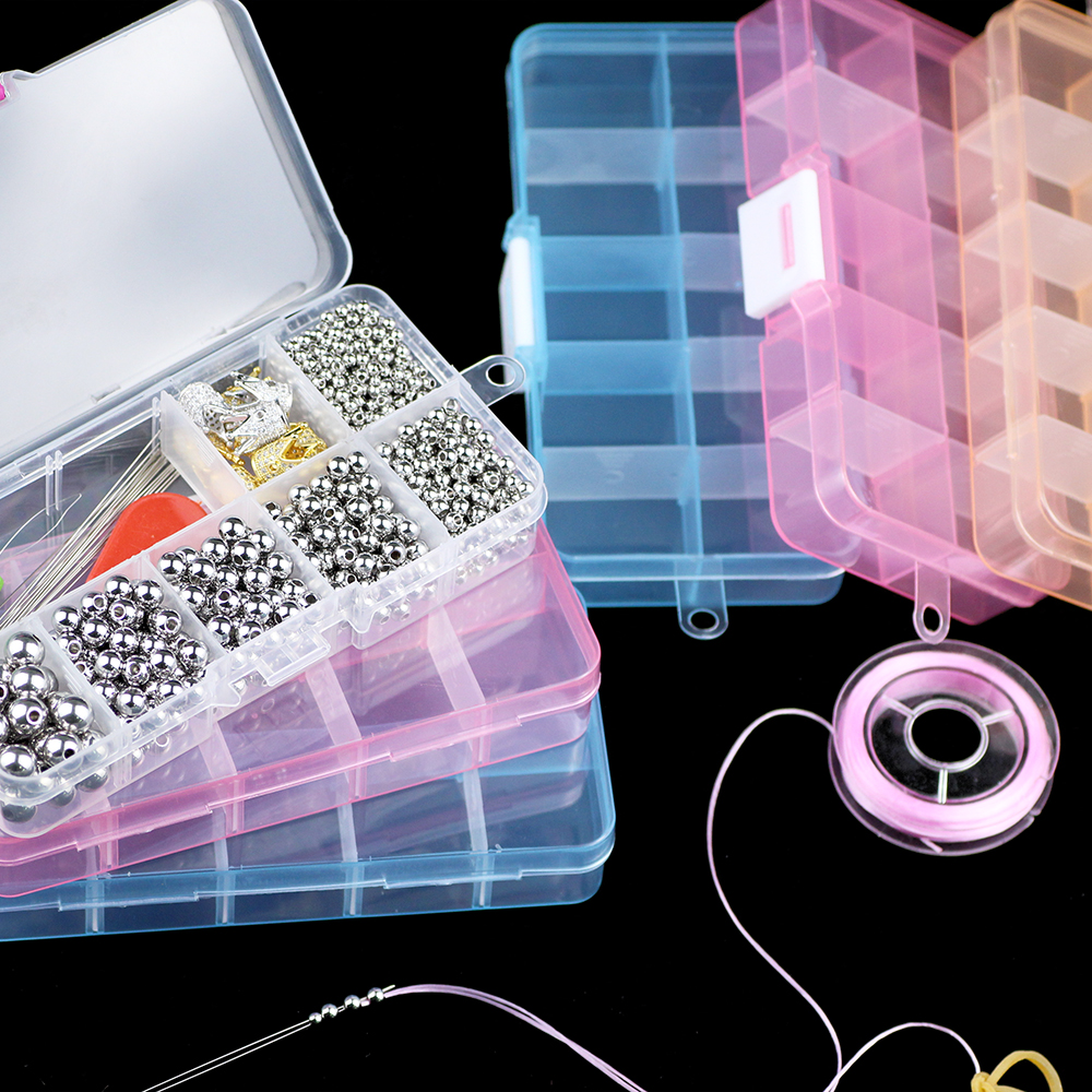 YHBZRET Adjustable 10 Slots Plastic Storage Box Packaging Transparent Tool Case Craft Organizer Box Jewelry Beads Accessories
