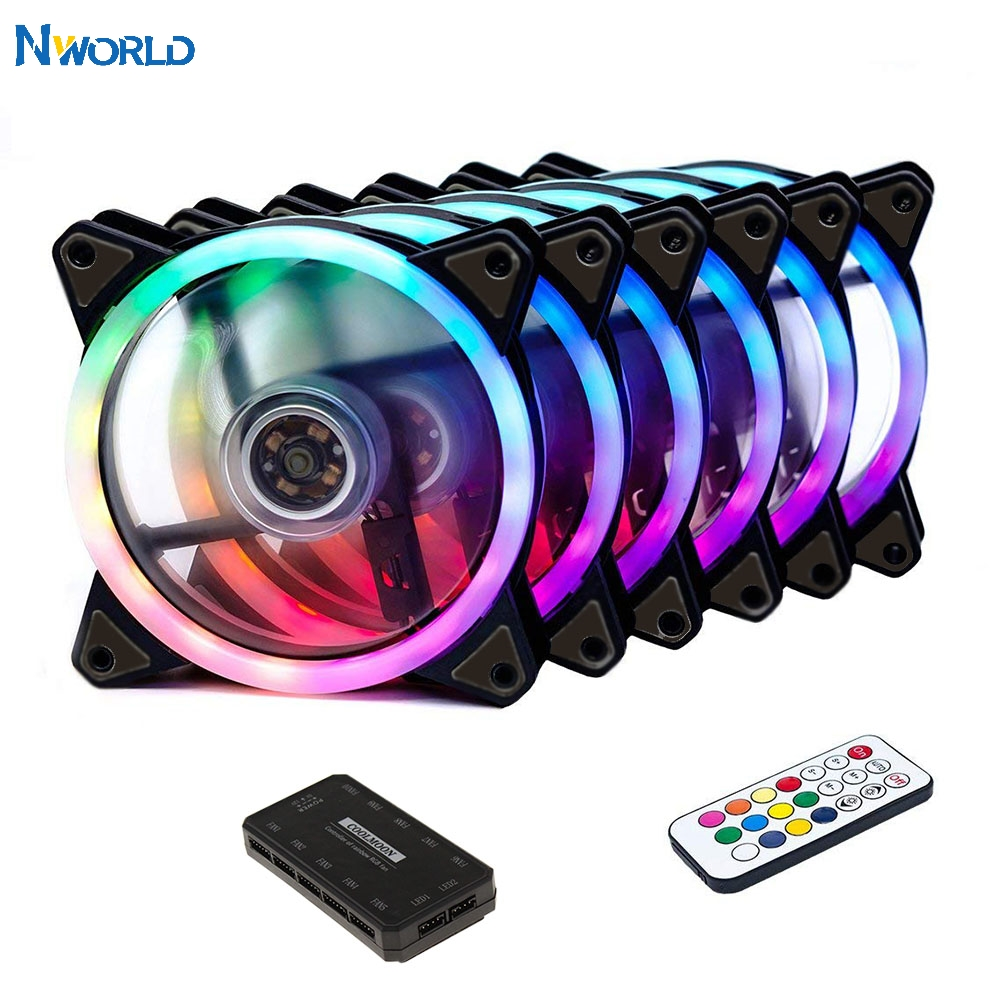 CPU Cooler PC Cooling RGB Fan Case Cooling Fan Adjust LED 120mm Radiator Quiet + IR Remote Cooler RGB PC Accessories