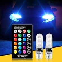 W5W T10 RGB LED Bombilla de luz del atmósfera del coche de la lámpara para Mercedes Benz A B C E GLA La CIA GLK GL ML GLE clase BMW X1 X3 X4 X5