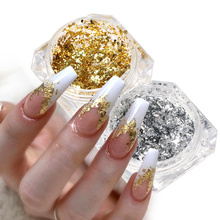 Flakes Glitter Aluminum Foil Sequins Chrome Powder Nails Irregular Sticker Paillettes Art Manicure Decor Accessories LACB01-08 cheap Full Beauty CN(Origin) 0 1g 1Box Nail Glittter Nail Glitter Gold Pink Silver Red Blue Green Purple Laser Magic Mirror Nail Powder Chameleon flakes