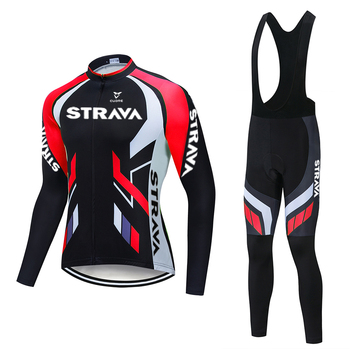 2020 STRAVA Pro Team Long Sleeve Cycling Jersey Set Bib Pants Ropa Ciclismo Bicycle Clothing MTB Bike Jersey Uniform Men Clothes new pro team strava cycling set bike jersey sets cycling suit bicycle clothing maillot ropa ciclismo mtb kit sportswear nw