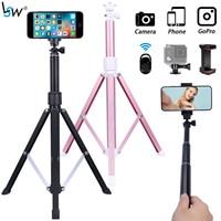 Supporto per treppiede per telefono portatile in lega da 160cm, bastone per treppiede per Selfie con supporto per telefono telecomando Bluetooth e supporto Gopro per telefono