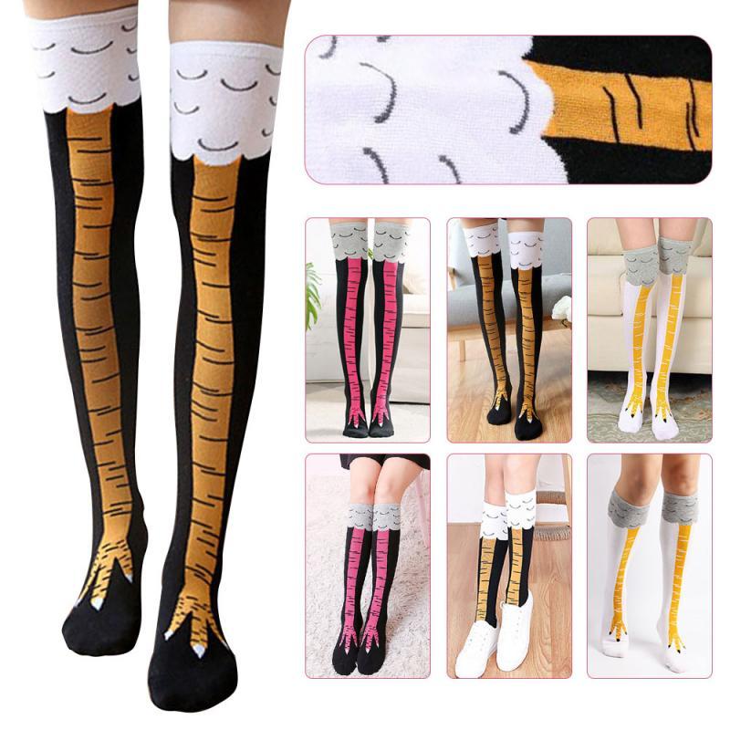 2019 Cute Cartoon Chicken Feet Pattern Socks With Chicken Print Toe Fashion Women Girls Cartoon Tights Stockings Christmas Gifts