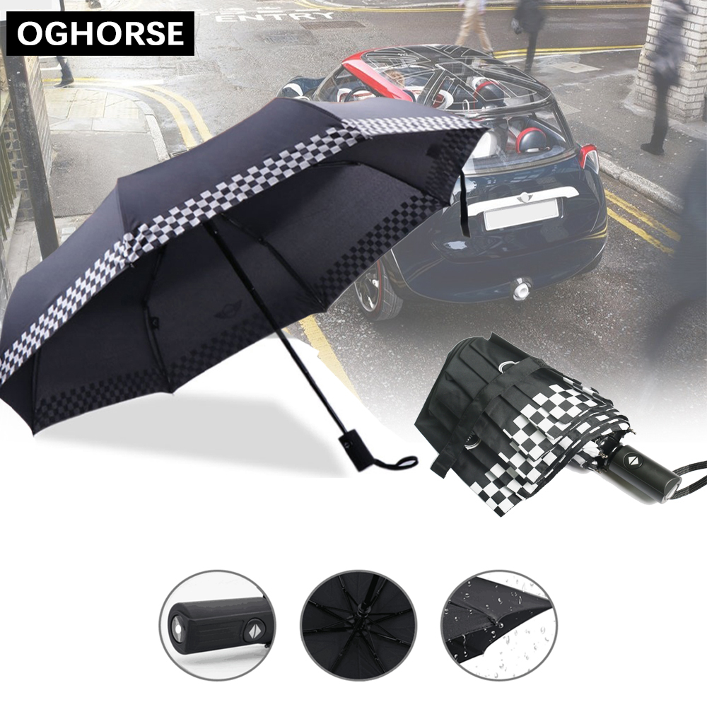 1PC Fully-automatic Folding Car Logo Rain Umbrella For MINI Cooper S R50 R53 R55 R56 R60 F54 F55 F56 F60 R61 R58 R59 Accessories