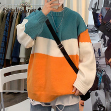 Мужчины% 27 свитер корейский Ins вышивка цвет свитер свободный ленивый шею шею пара наряд пуловер