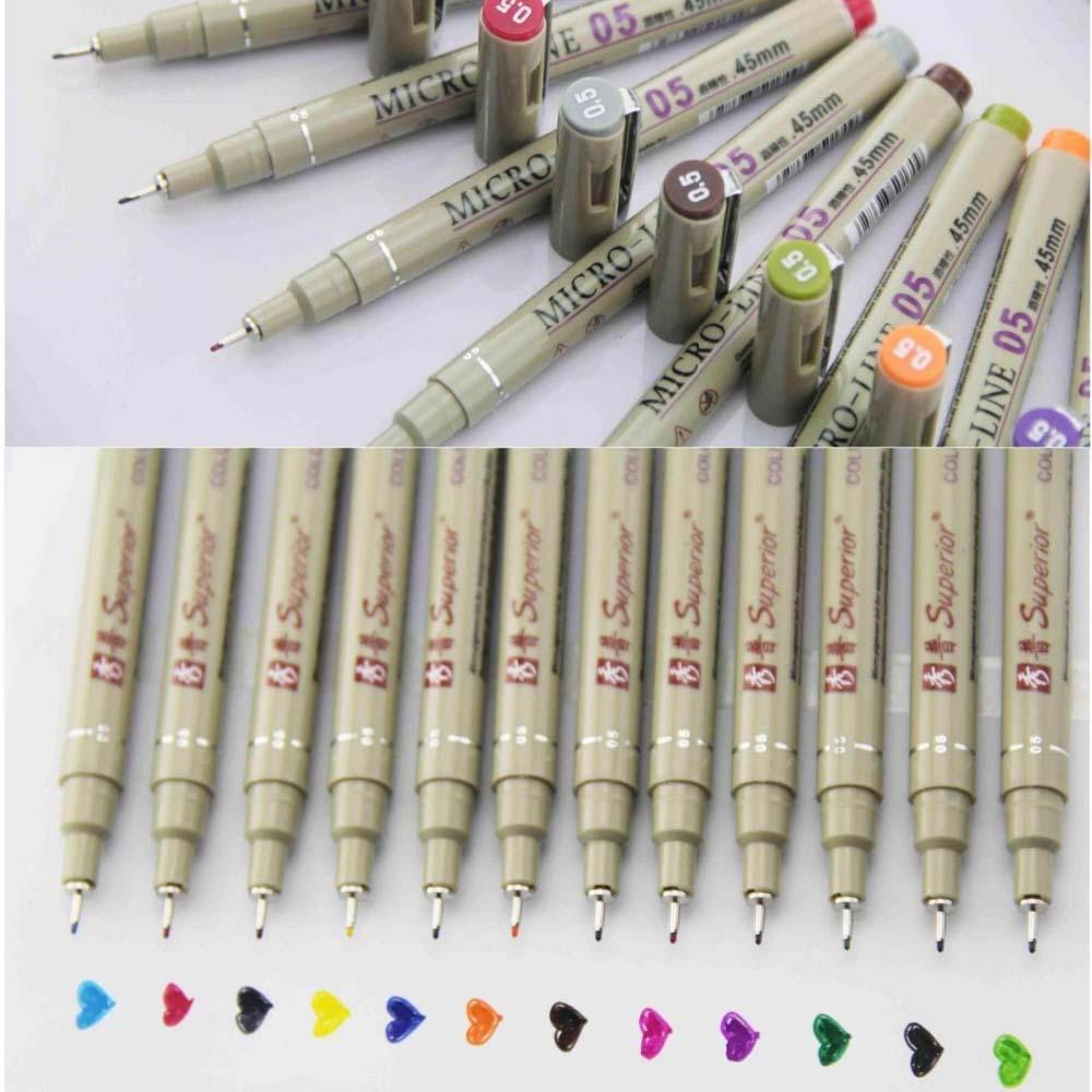 Ручка-эскиз диаметром 0,5 мм, 12 цветов