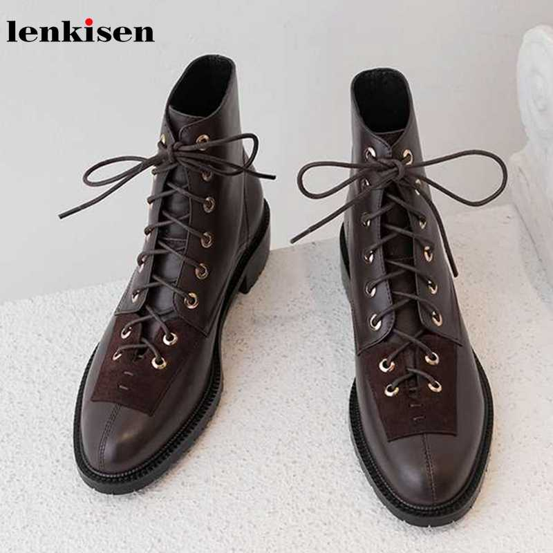 Lenkisen hot vintage gentle style genuine leather rivets lace up med heels round toe winter warm women modern ankle boots L18