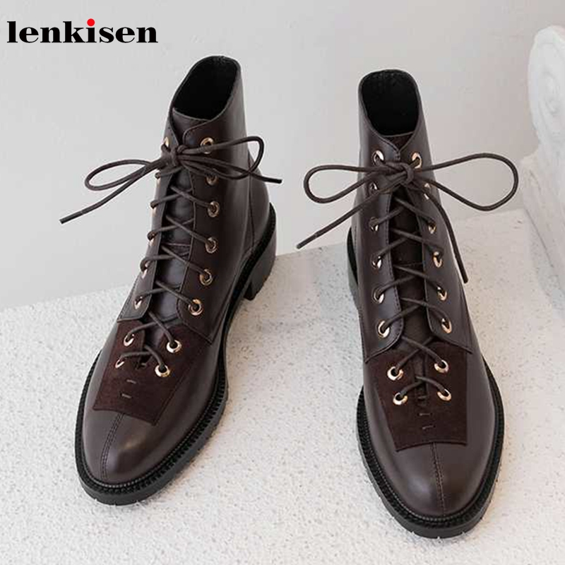 Lenkisen hot vintage gentle style genuine leather rivets lace up 