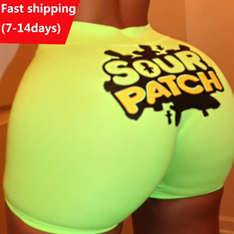 Mulheres shorts de verão de cor brilhante engraçado imprimir shorts de cintura alta estiramento quente casual biker shorts sexy magro calças curtas femme