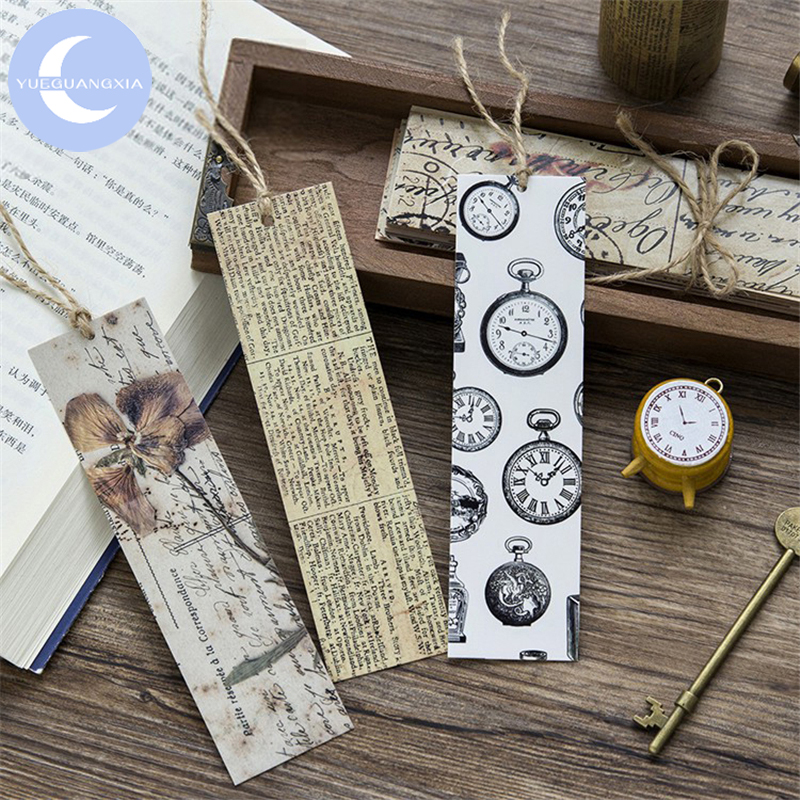 YUEGUANGXIA 30pcs/box Vintage Retro Collection Paper Bookmarks Reading Book Holder Message Card Stationery School Office Supply