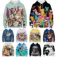 Kids kawaii cat dog 3d printed hoodie spring winter cartoon