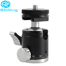 Mini Ballhead CNC Metal Monopod Tripod Ball Head 360 Panoramic with 1/4 Screw Cold Shoe Base Adapter Mount for DSLR Camera Flash
