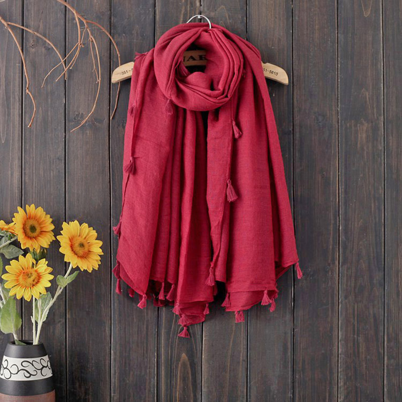 140cm Square Scarf Stole Women Solid Color Large Size Foulard Journey Tassels Wrap Hijab