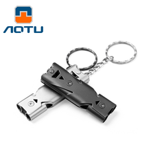 1pcs Camping Hiking Survival Whistle Small Size Aluminum Emergency Whistle Outdoor EDC Tools Train Whistle high quality120db edc emergency aluminum whistle camping survival keychain kit for outdoor activities pesonal safe security