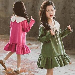 Image 2 - Trẻ Em Bé Gái Tay Dài Mùa Xuân 2020 Búp Bê Đáng Yêu Cổ Áo Váy Đầm Cho Bé Tập Đi Cho Bé Thời Trang Trẻ Em Quần Áo 3 6 8 10 12 Năm