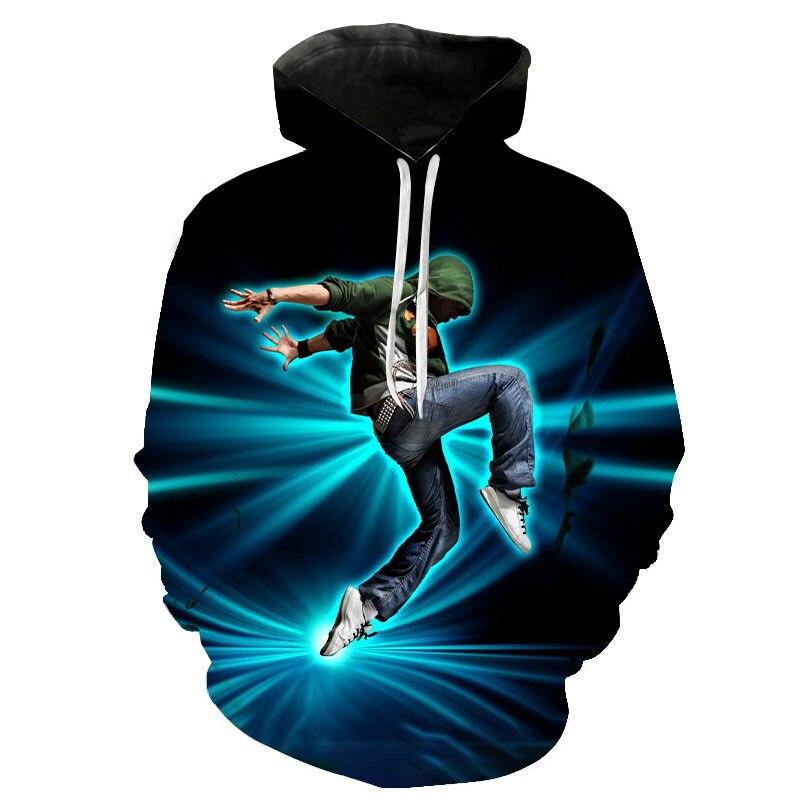 3D Streetwear Punk Harajuku Hip Hop Break Dance Hoodie Sweatshirt Breakdance Hoodies Fashion Cool Street Dance Hoody Pullover