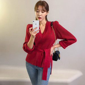 Image 4 - 2019 Winter Women Sweater Solid Casual Lace Up Pullover Basic Jumper Autumn V neck Knitted Knit Sweater Female