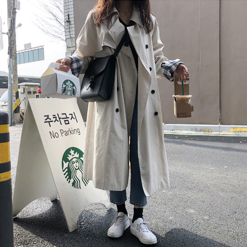 Double white New Plus size grey Winter Coat Women   Trench   Girls Vintage Fashion Oversize Coats Long Autumn Windbreaker Outerwear