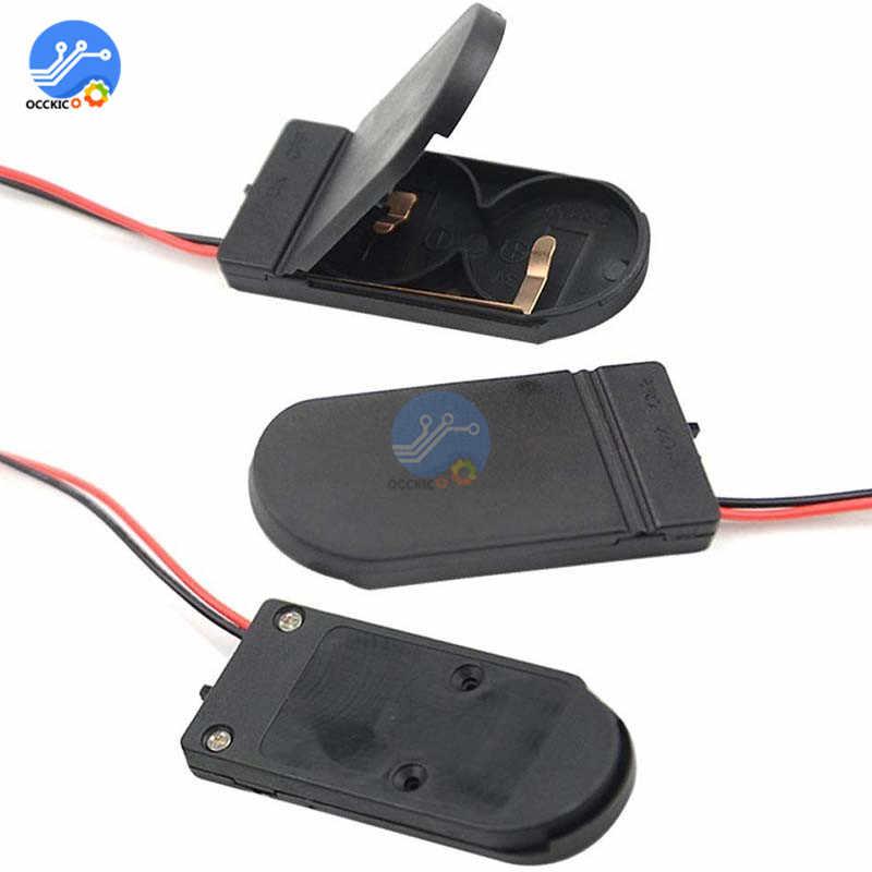 Negro/Blanco CR2032 caja de la caja del almacenamiento del sostenedor de la batería con el botón de la célula del interruptor de encendido/apagado