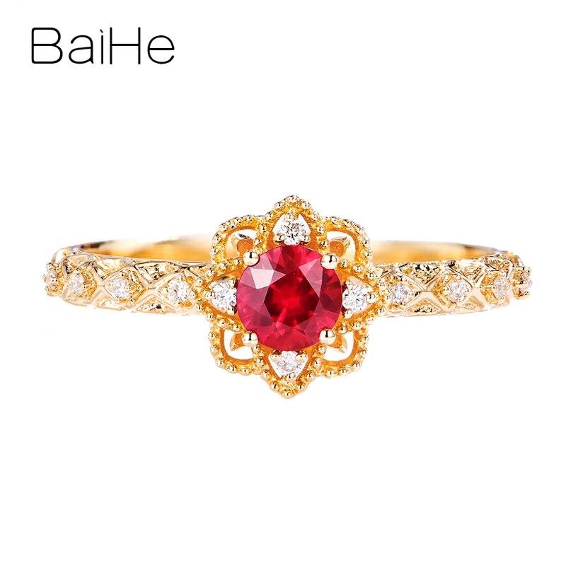 BAIHE Твердое 14 к желтое золото 0.26ct круглый натуральный рубин 0.05ct бриллианты для женщин свадебная мода ювелирные изделия цветок настроить кол
