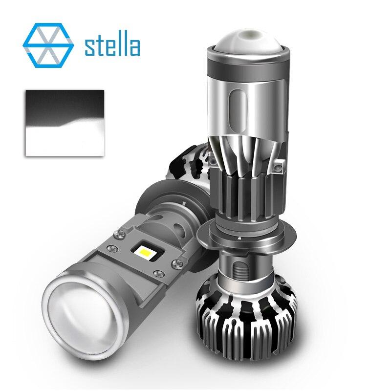 H7/H4 LED moto phare mini lentille clair coupe-ligne turbo super LED ampoule 55W 5500K salut/bas auto phare sur les voitures glace lumière