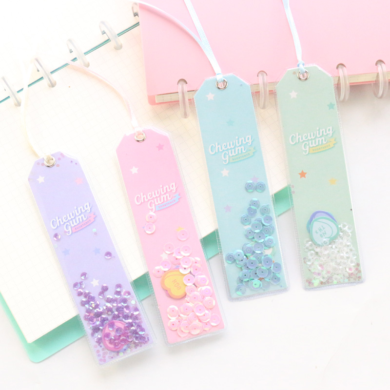 Domikee Cute Kawaii Candy Office School Sequins Paper Bookmarks For Books Candy Student Kids Glitter Index Divider Stationery